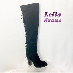 Leila Stone-Black Over Knee Fringe Heel Boot 6.5